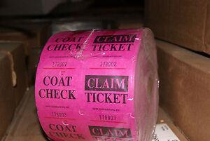 Coat Check Tickets - 2 Part, Purple Roll 1000 per roll Lot 18 NIB**wolfsmarine**