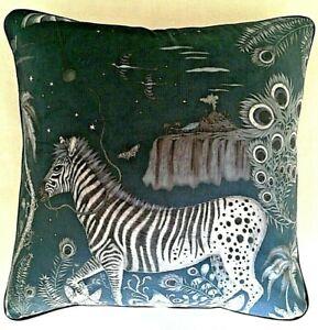 Emma J Shipley LOST WORLD NAVY VELVET cushion cover 41cm
