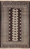 Geometric Balouch Afghan Oriental Hand-Knotted Area Rug Tribal Wool Carpet 3'x4'