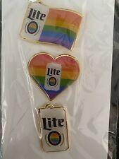 MILLER LITE PRIDE Rainbow 🌈 Set Of 3 Lapel Pins Rare New In package 2 Packs