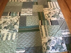 THE COMPANY STORE -  Twin Patchwork Quilt - Greens/Blues Birds