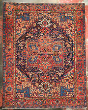 Superb Antique Persian Heriz Serapi Rug 9.5x12 Navy Blue & Peach c.1900