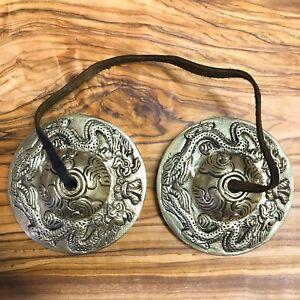 Handmade Tibetan Tingsha Bells Cymbals 6.5cm Dragon Bronze VEGAN FRIENDLY CORD
