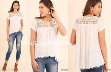 NWT UMGEE Off-White Floral Crochet Lace Drapey Swing BabyDoll Pom-Pom Hem Top S