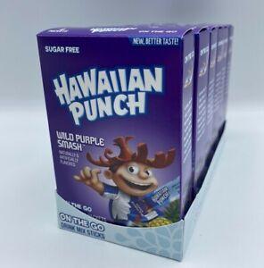 Lot of 6 Boxes Sugar Free Hawaiian Punch SINGLES TO GO Wild Purple Smash