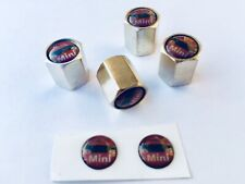 Mini , set 4 stainless steel valve caps with Mini Lo Inc Spare Badgeslogo bd1-a1
