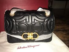 Salvatore Ferragamo Gancini Flap Quilted NERO Leather Shoulder Bag NWT