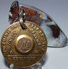 Alcoholics Anonymous AA 19 Year Bronze  Medallion Keychain Token coin chip Sober