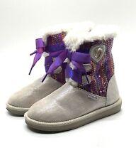 "STRIDE RITE ""DISNEY FROZEN COZY BOOTS"" Silver Purple Sequins Little Girl's Sz.9"