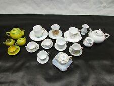 Large Lot Vintage Children's Tea Set Porcelain & Pottery Cups Plates Tea Pots