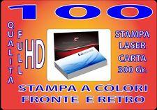 100 BIGLIETTI DA VISITA A COLORI 300GR STAMPA FRONTE E RETRO QUALITA' FULL HD