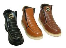 Para hombres cuero genuino Botas de trabajo Puntera Suave De Seguridad Cremallera Botas resistente al aceite #1216