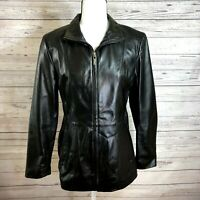 Worthington Womens size M Leather Jacket Genuine Lambskin black Zip up and Lined