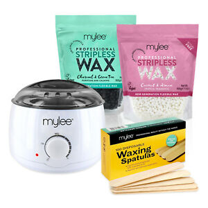 Mylee Stripless Waxing Kit Hard Flexible Pearl Wax Beads Heater Hair Removal Set