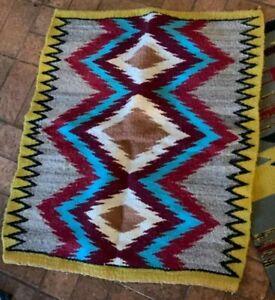 Navajo Rug Saddle Blanket Vintage Native American Indian Southwest Weaving