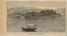 Stampa antica ISOLA BELLA veduta generale Lago Maggiore 1896 Old antique print