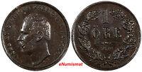 Sweden Carl XV Adolf Bronze 1870 1 Ore XF Condition KM# 705
