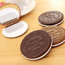New Korean Cute Cookie Shaped Design Mirror Makeup Cosmetic Tool Chocolate Comb