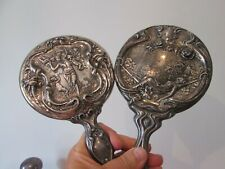 2 Large  Antique ART NOUVEAU  - STERLING - HAND MIRRORS w/ WOMEN - OLD PATINA