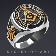 Masonic Ring Freemason Silver 925 All Seeing Eye With 24k-gold-plated Parts