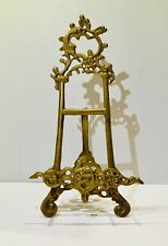 """Vintage Ornate Solid Brass Easel Picture Plate Display Stand 15"""""""