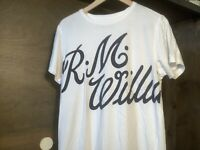 R.M. Williams MENS TEE SHIRT WHITE WITH NAVY SIZE MEDIUM COTTON SHORT SLEEVE