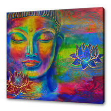BEAUTIFUL COLOURFUL RAINBOW HEAD OF LORD BUDDHA CANVAS PRINT WALL ART PICTURE