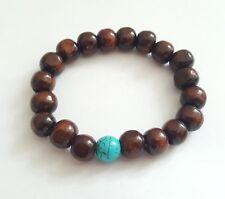 Holzperlen Armband Holz Armband Herren Damen Perlen Buddha Yoga braun türkis