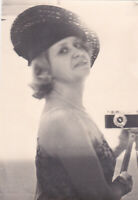 1960s Pretty young woman girl selfie camera hat beauty USSR old Russian photo
