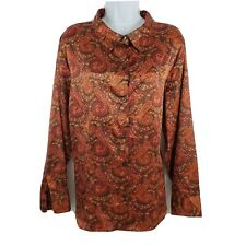 Jaclyn Smith Classic Plus Paisley Button Top Long Sleeve Blouse Tunic 20W