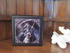 """Grim Reaper"" Skull Goth ART TILE TRINKET JEWLERY ALTAR STASH BOX STEVE ROBERTS"