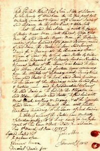 1756, Conn., Jonathan Trumble, sale of slave, Hector, RARE sig of Faith Trumble