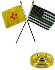 "New Mexico & Thin Green Line USA 4""x6"" Flag Desk Set Table Stick Gold Base"