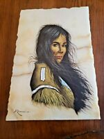 Painting on Marble Slab of Native-American Indian Woman signed artist