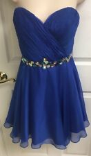 ALYCE Paris Royal Blue Jovani Rhinestones Pageant Prom Formal Dress Size 12