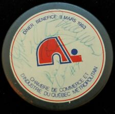 1983 NORDIQUES PUCK SIGNED Real Cloutier Clint Malarchuk Wally Weir Dale Hunter