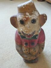 "Vintage Money Box Piggy Bank plaster Monkey  8"" tall rare distressed condition"