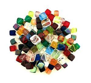 1/4 LB Pound Czech Glass Cubes Rectangle Square Dice Assorted Shape Bulk Beads
