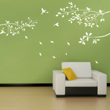 1PCS White Tree Branches Birds Leaves Home Wall Stickers Living Room Decals NEW