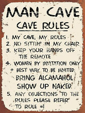 """Man Cave Rules, Retro metal Sign/Plaque, Gift, Home, 10"""" x 8"""" Large"""