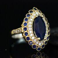 925 Sterling Silver Handmade Gemstone Turkish Sapphire Ladies Ring Size 7-12