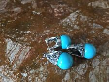 Sterling silver Marcasite and turquoise earrings and pendant set