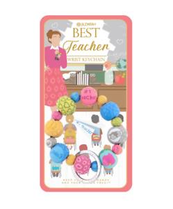 NEW JILZARAH Premium Handmade Clay Beads BEST TEACHER 20mm Wrist Keychain