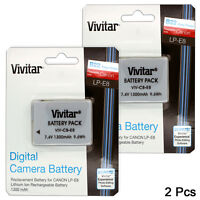 2 Pcs LP-E8 High Capacity Battery for Canon Rebel T3i T5i T4i T2i DSLR / 1300mAh