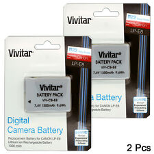 2 Pcs LP-E8 High Capacity Battery for Canon Rebel T3i T5i T4i T2i DSLR / 1300mAh