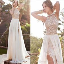 A-line Wedding Dresses High Slit Chiffon A-line Beach Prom Gowns