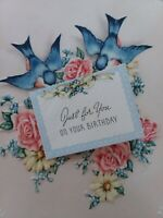 1940s Vtg BLUEBIRDS Just For You Embossed BIRTHDAY GREETING CARD