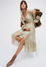 NEW Free People FP One Shine Maxi Belted Shirt Dress Metallic $168 XS