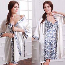 Sexy Nightwear Kimono Silk Satin Dressing Gown Bath Robe + Babydoll Nightie Suit