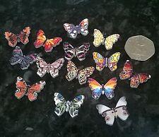10 Mezclados Botones Madera Estampado Mariposa Botones 25x 18mm scrapbooking coser